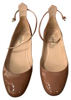 Valentino tan patent ankle strap Tango shoes