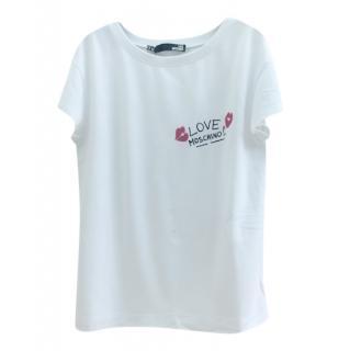 Love Moschino White Logo Print Top