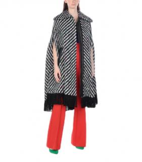Emilio Pucci Striped Knit Virgin Wool Cape Coat