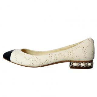 Chanel Two-Tone Perforated Ballerina Flats