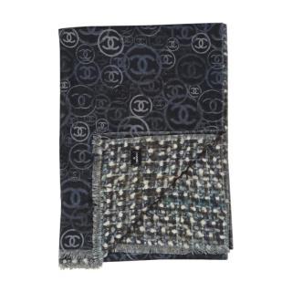 Chanel Grey Tweed/CC Print Cashmere Shawl