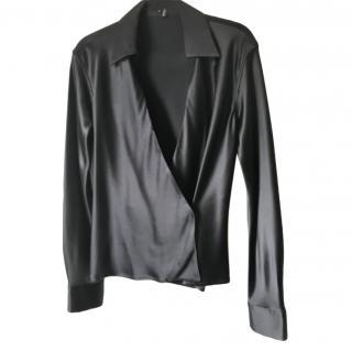 Gucci Black Silk Wrap Style Blouse