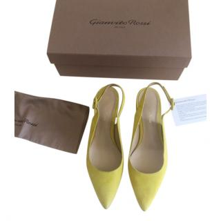 Gianvito Rossi yellow suede amee mules