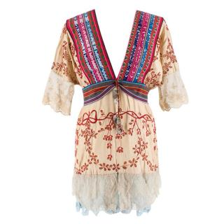 One Vintage Bespoke Embroidered Bohemian Kaftan Blouse
