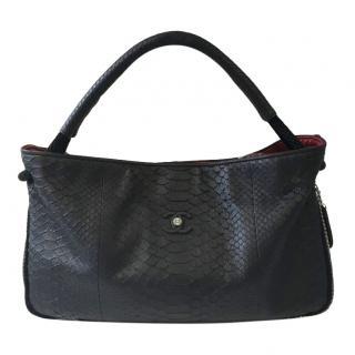 Chanel Black Python Tote Bag