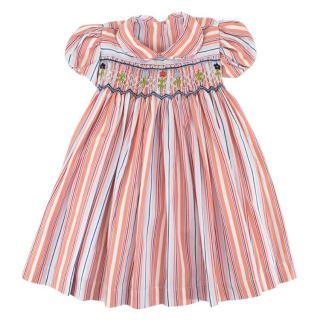 Bespoke Baby Girl's Striped Embroidered Summer Dress