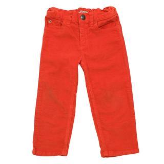 Bonpoint Baby Bright Orange Corduroy Trousers