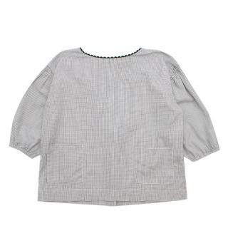 Caramel Small Grid Check Girl's Top