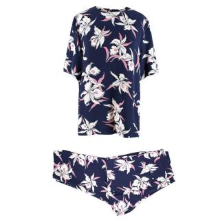Marni Navy Floral Top and Wide Leg Trousers
