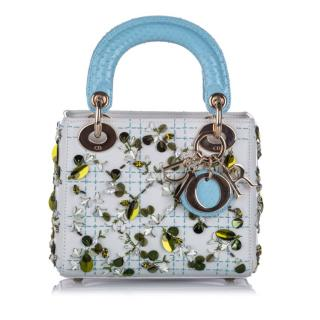 Dior Baby Blue Embellished Mini Lady Dior Bag