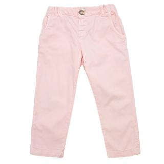 Bonpoint Girl's Pink Cotton Chino Trousers