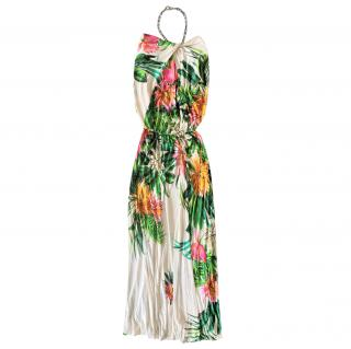 MSGM Tropical Print Halterneck Maxi Dress