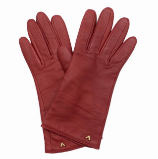 Louis Vuitton Red Leather Gloves