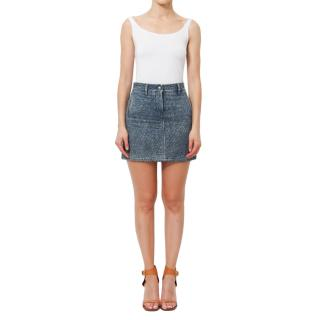 Chanel Denim Camellia Quilted Mini Skirt