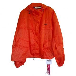 MSGM Red Monogram Hooded Rain Jacket