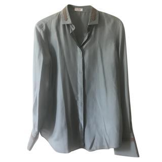 Brunello Cucinelli Green Silk Blouse