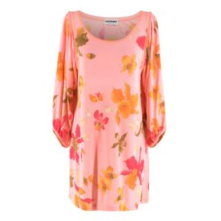 Leonard Paris Pink Floral Scoop Neck Mini Dress