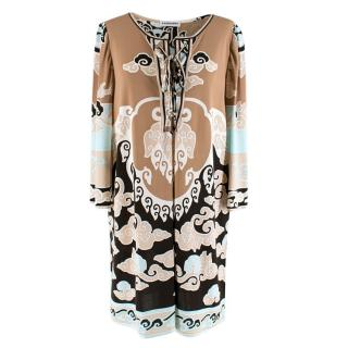 Leonard Paris Light Brown Abstract Pattern dress