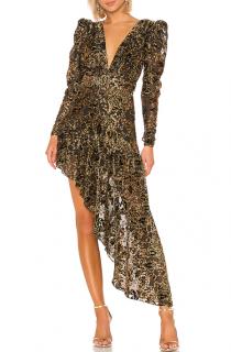 Hemant & Nandita Black & Gold Asymmetric Inara Dress
