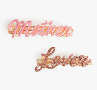Mother Denim The Barrette - Mother Lover/Pink & Gold Glitter Clips