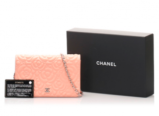 Chanel Pale Pink Camellia Leather Wallet on Chain