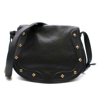 Ralph Lauren Black Leather Studded Saddle Bag