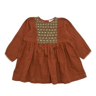 Caramel Kids Brown & Green Embroidered Dress