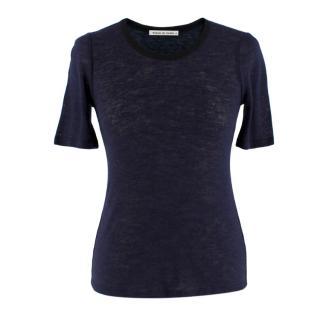 Frances De Lourdes Navy Blue Crew Neck T-Shirt