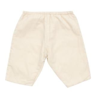 Bonpoint Baby Cream Ribbed Velour Trousers