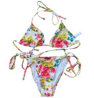 Dolce & Gabbana White Floral Print String Bikini
