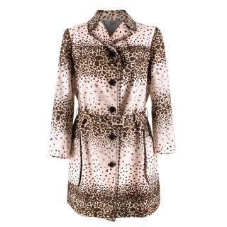 John Galliano Vintage Pink Leopard Print Trench Coat