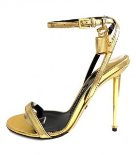 Tom Ford Barely There Padlock Metallic Gold Sandals