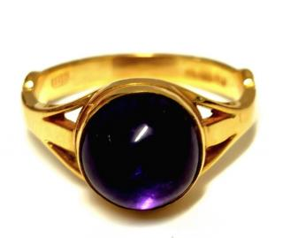Bespoke Amethyst Cabochon Yellow Gold Ring