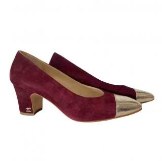 Chanel burgundy suede pumps