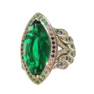 St Diamond marquis cut tourmaline and diamond cluster ring