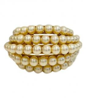 Chanel rare vintage five row faux pearl cuff