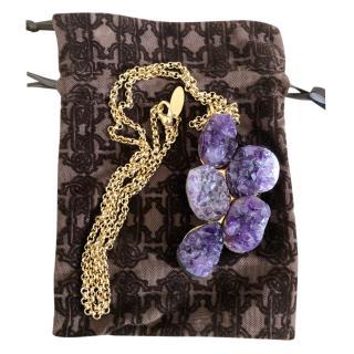 Roberto Cavalli raw edge amethyst pendant necklace