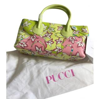 Emilio Pucci green bluebell print tote bag