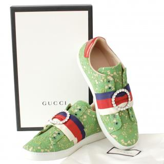 Gucci Green Ace Lace Sneakers