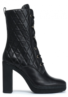 Tod's Black Leather Quilted Lace-Up Boots