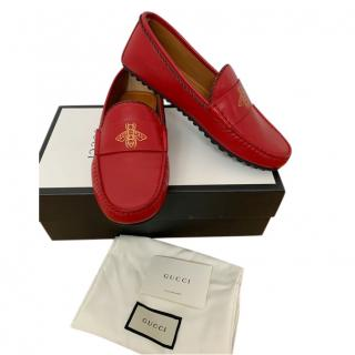 Gucci Red Bee Leather Loafers