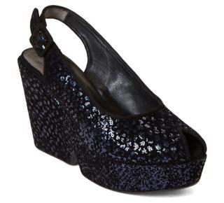 Robert Clergerie navy embellished black Dylan wedge sandals