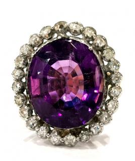 Bespoke Georgian 15x18mm natural amethyst and diamond ring