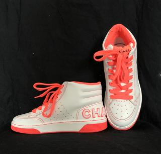 Chanel SS20 SOLD OUT white leather/neon fluro orange pink  high top trainers
