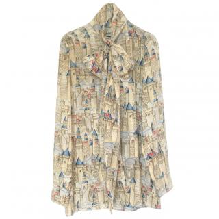 Gucci Garden Collection pussy bow fortress print blouse