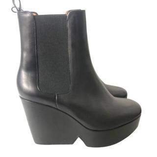 Robert Clergerie black leather wedge sole boots