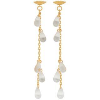 Alexa Chung gold lip drop earrings