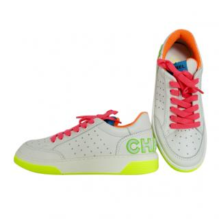 Chanel SS20 white leather low top trainers fluro neon pink yellow multi