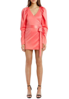 Rotate Birger Christensen Pink Wrap Mini Dress