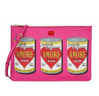 Dolce & Gabbana Pink Amore Soup Calfskin Pouch